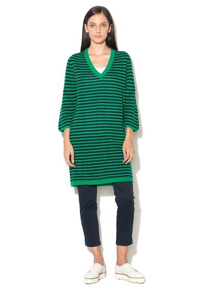 United Colors Of Benetton Rochie verde smarald cu negru in dungi