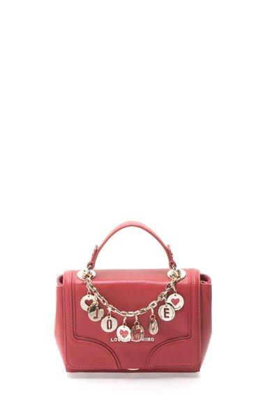 Geanta rosu capsuna de piele cu pandantive aurii de la Love Moschino