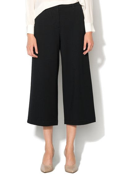 Pantaloni crop negri evazati