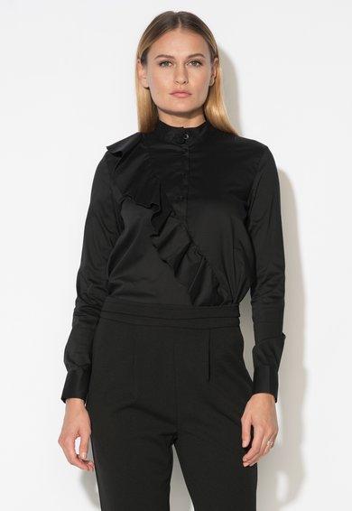 Bluza neagra tip tunica cu volan de la Zee Lane Collection