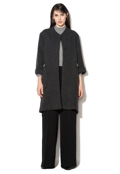 Palton negru melange din amestec de lana C-HKong MaxCo