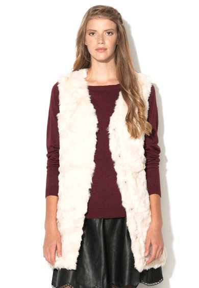 FashionDays.ro: Vesta alb fildes de blana sintetica Perlo Vila