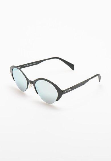 Ochelari de soare cat-eye negri cu lentile oglinda de la Italia Independent