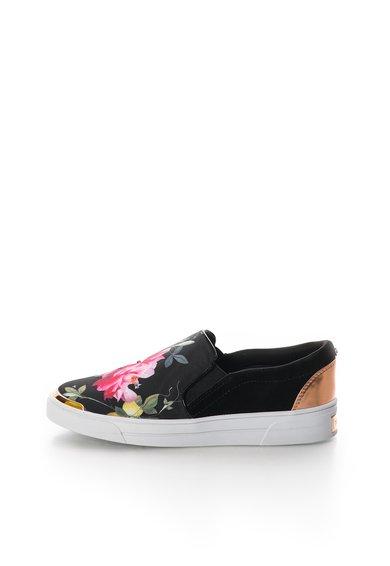 Pantofi slip-on negri cu model floral multicolor Heem de la Ted Baker
