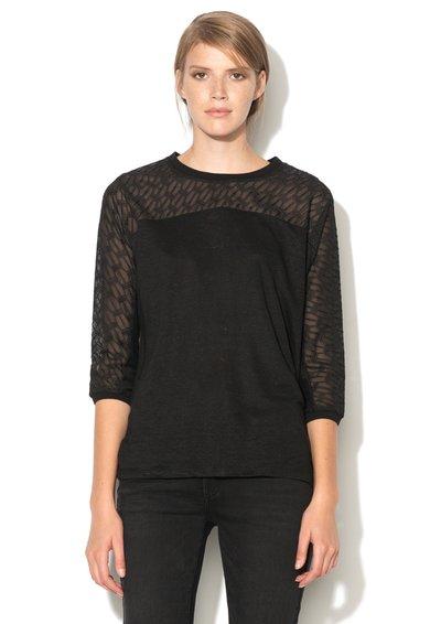 Bluza neagra de in cu garnitura brodata de la IKKS