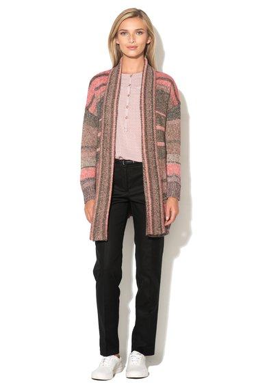 ESPRIT Cardigan gri melange cu roz fara inchidere