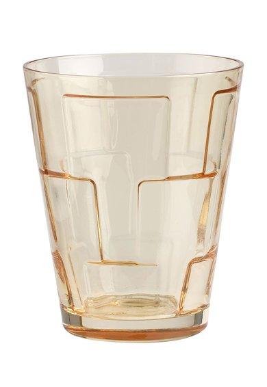 Pahar galben chihlimbar din cristal cu detalii patrate in relief