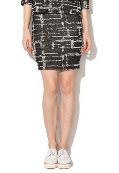 FashionDays.ro: Fusta negru cu alb si model abstract Lillian kaffe
