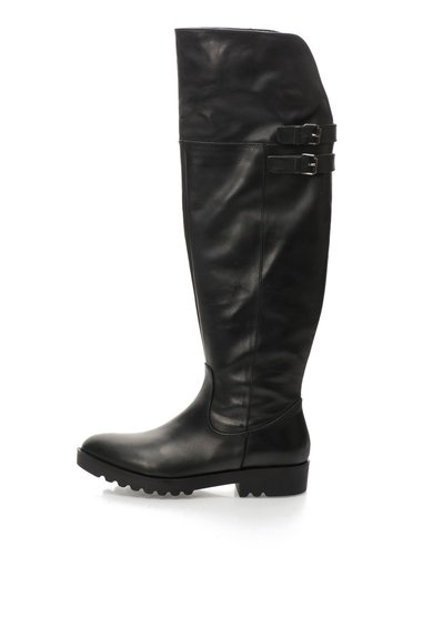 Cizme negre de piele pliabile inalte pana la genunchi de la Oakoui