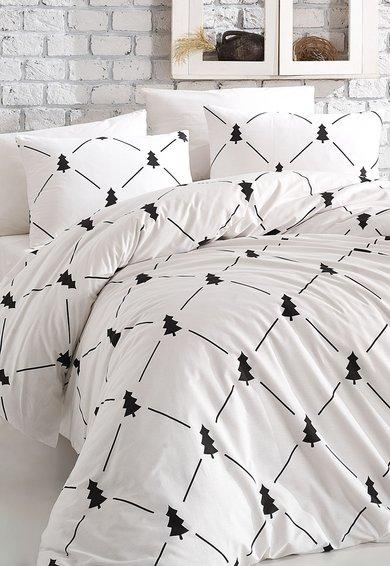 Leunelle Set de pat alb din bumbac ranforce cu imprimeu