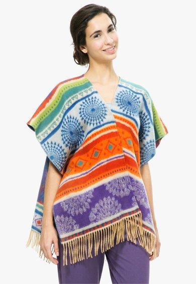 Desigual living Poncho de casa multicolor cu franjuri Tribal
