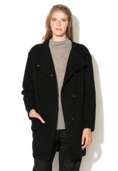 Haina neagra din amestec de lana cu inchidere cu capse de la United Colors Of Benetton