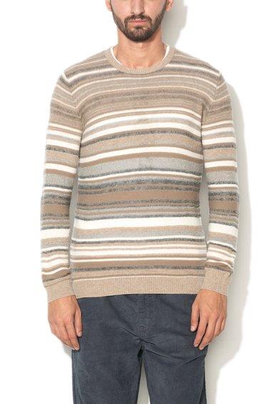 Pulover bej melange cu gri din amestec de lana de la United Colors Of Benetton