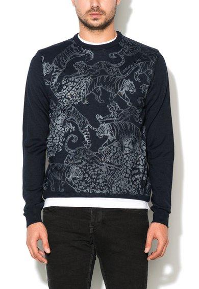 FashionDays.ro: Pulover bleumarin din amestec de lana tricotat fin VERSACE JEANS