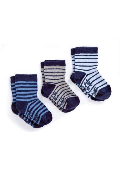 Set de sosete albastru cu gri melange in dungi – 3 perechi