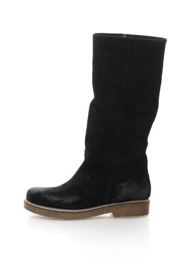Cizme negre cu garnitura din blana sintetica Terry de la Zee Lane