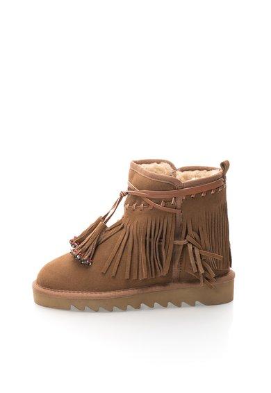 FashionDays.ro: Cizme scurte maro camel de piele intoarsa cu interior imblanit Colors of California