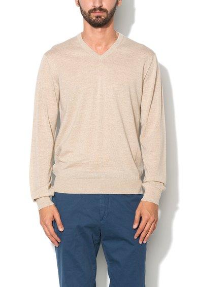 Pulover bej melange tricotat fin din lana merinos de la Hackett London