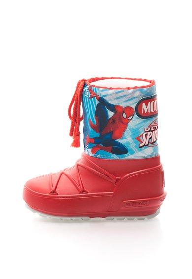 Cizme rosu cu albastru cu imprimeu Spiderman de la Moon Boot