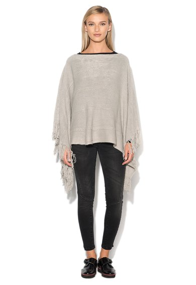 Only Poncho gri deschis tricotat Samantha