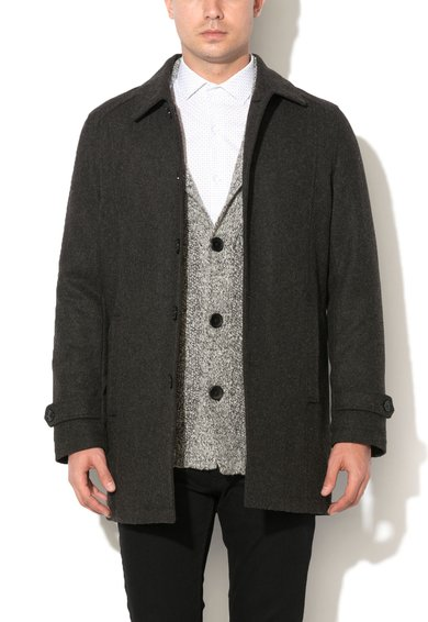 Haina gri inchis din amestec de lana Tribeca de la Selected