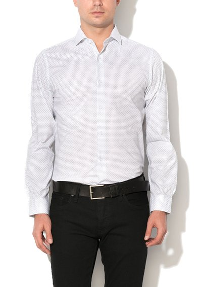 Camasa slim fit alba cu model cu cercuri Pisa de la Selected