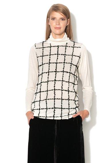 FashionDays.ro: Bluza alb unt cu garnituri negre Rapido Pennyblack