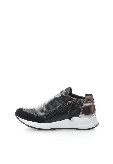 FashionDays.ro: Tenisi negru cu argintiu cu insertii de piele Eden Tosca Blu