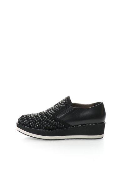 FashionDays.ro: Pantofi wedge negri de piele si piele intoarsa Opal Tosca Blu