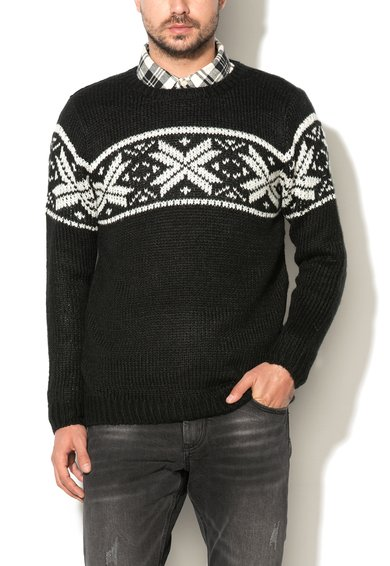 Pulover negru cu model scandinav