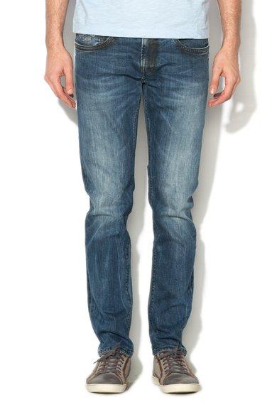 Jeansi slim fit albastru inchis cu aspect uzat Hatch