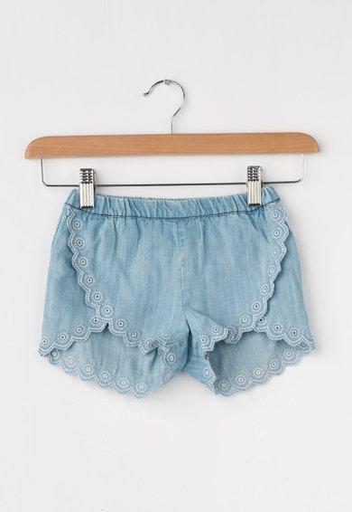 Pantaloni scurti bleu din lyocell cu broderii Belle de la Pepe Jeans London