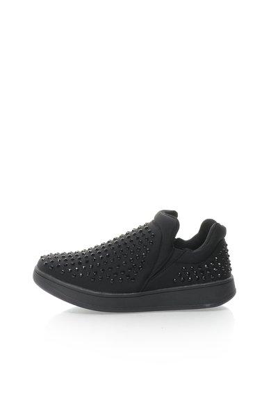 Pantofi slip-on negri cu strasuri