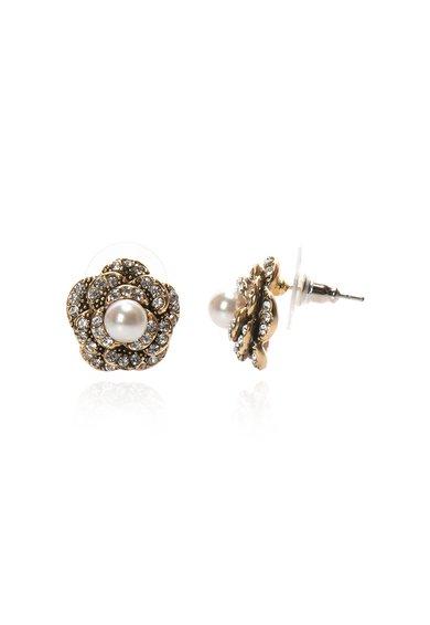 Cercei aurii cu tija, cristale si perle sintetice de la M by Maiocci