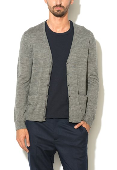 Cardigan gri de lana cu detalii contrastante