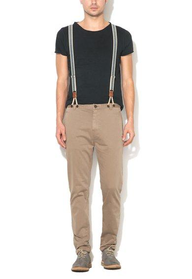 Pantaloni slim fit maro nisip cu bretele detasabile de la United Colors Of Benetton