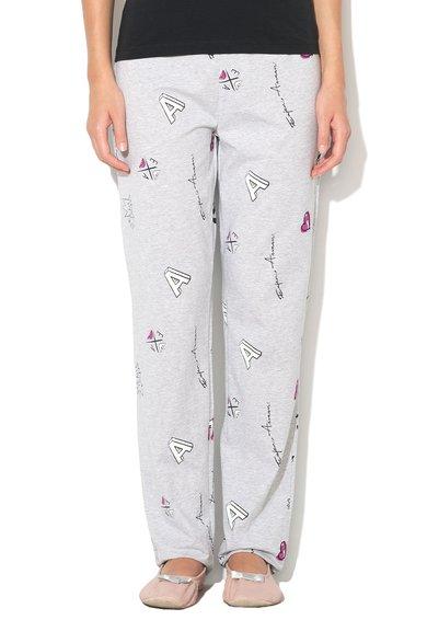 Pantaloni de casa gri melange cu imprimeu cu desen