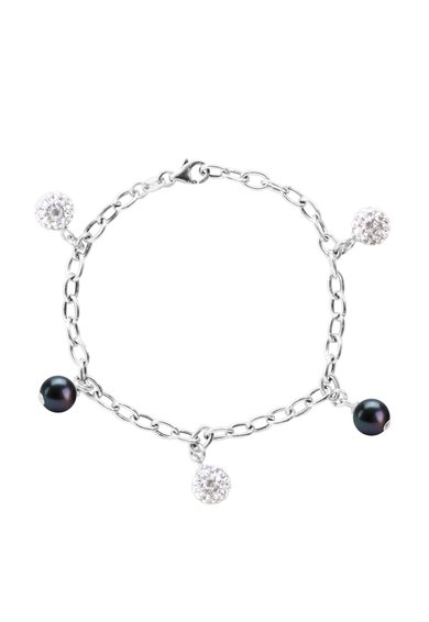 Bratara argintie cu perle si cristale de la Perles Addict
