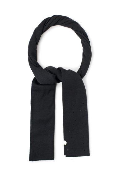 VERSACE JEANS Fular negru tricotat fin cu strasuri