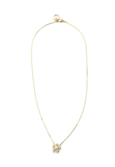 Colier auriu realizat manual cu pandantiv floral M by Maiocci