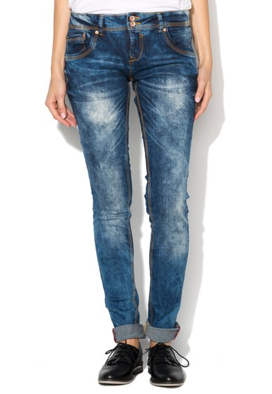 FashionDays.ro: Jeansi super skinny albastru inchis cu aspect tratat Alcott