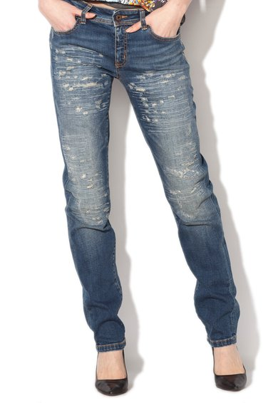 Just Cavalli Jeansi albastri cu aspect deteriorat