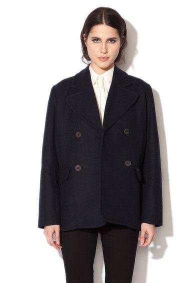 Palton negru din amestec de lana Hazel de la Pepe Jeans London