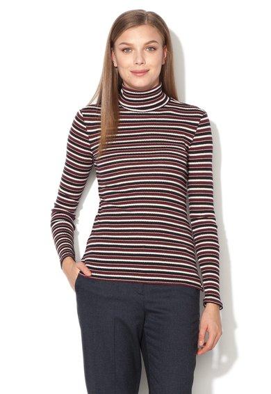 Bluza multicolora cu guler inalt si imprimeu cu dungi de la ESPRIT