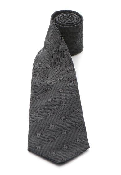 Cravata neagra de matase cu model logo de la Roberto Cavalli