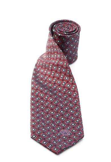 FashionDays.ro: Cravata bleumarin inchis cu rosu de matase Versace