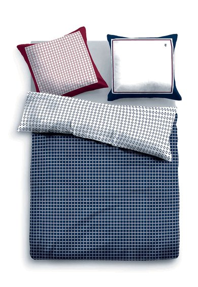 Tom Tailor Home Set de pat albastru inchis cu alb si model geometric