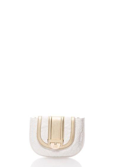 FashionDays.ro: Geanta saddle albl cu auriu cu model cusut Diva CAVALLI CLASS