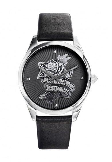 Jean Paul Gaultier Ceas negru cu o curea din piele Navy Tattoo
