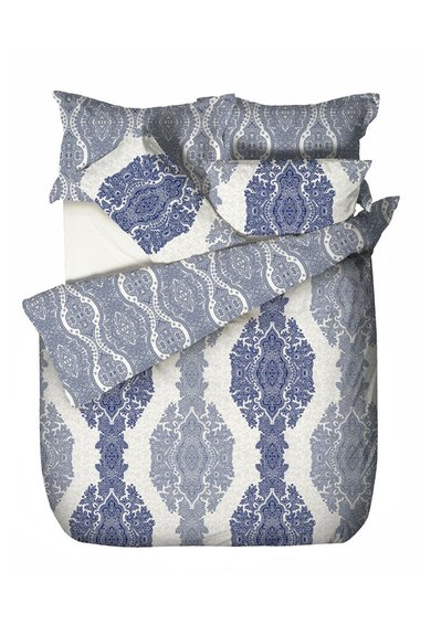 Leunelle Set de pat in nuante de albastru cu imprimeu victorian
